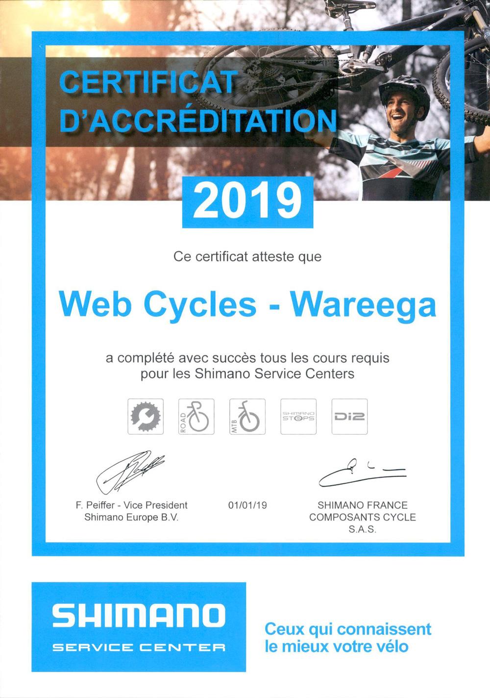 Certification Shimano Wareega