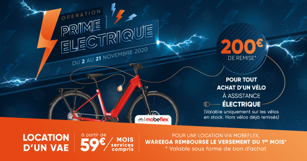 Prime électrique VAE Wareega 2020